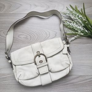 COACH white leather shoulder purse